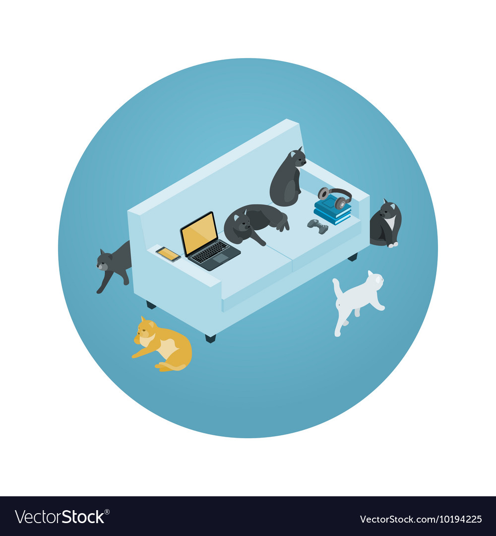 Isometric workplace on the sofa with cats vector