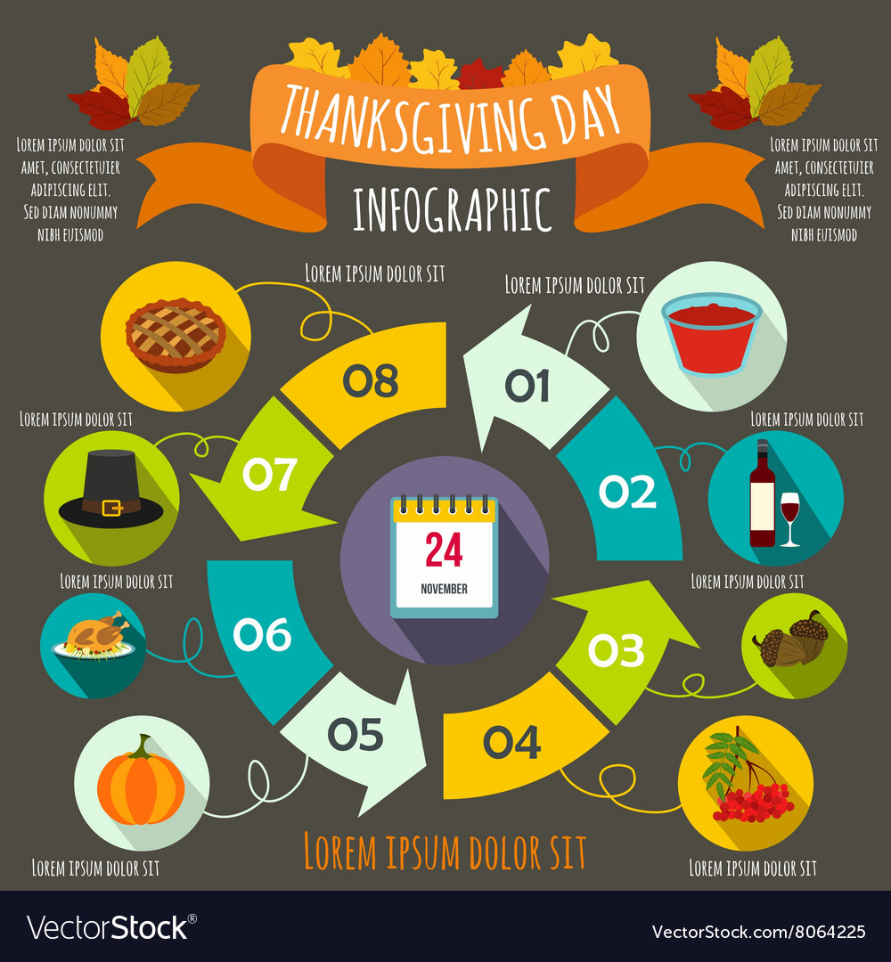 Thanksgiving day infographic elements flat style vector