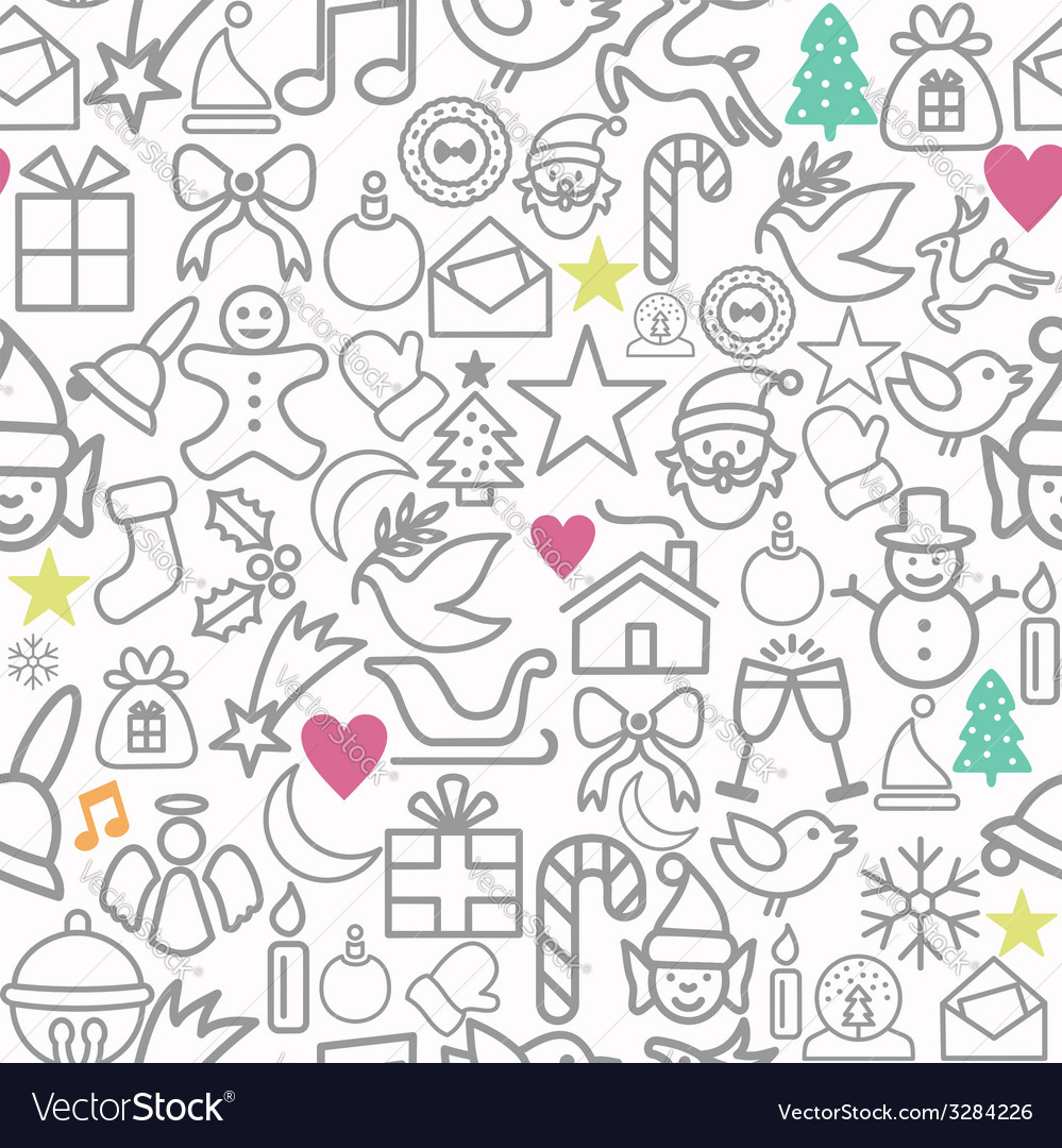 Merry christmas wrapping paper pattern outline vector