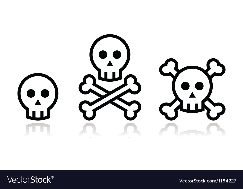 Cartoon skull with bones icon set vector