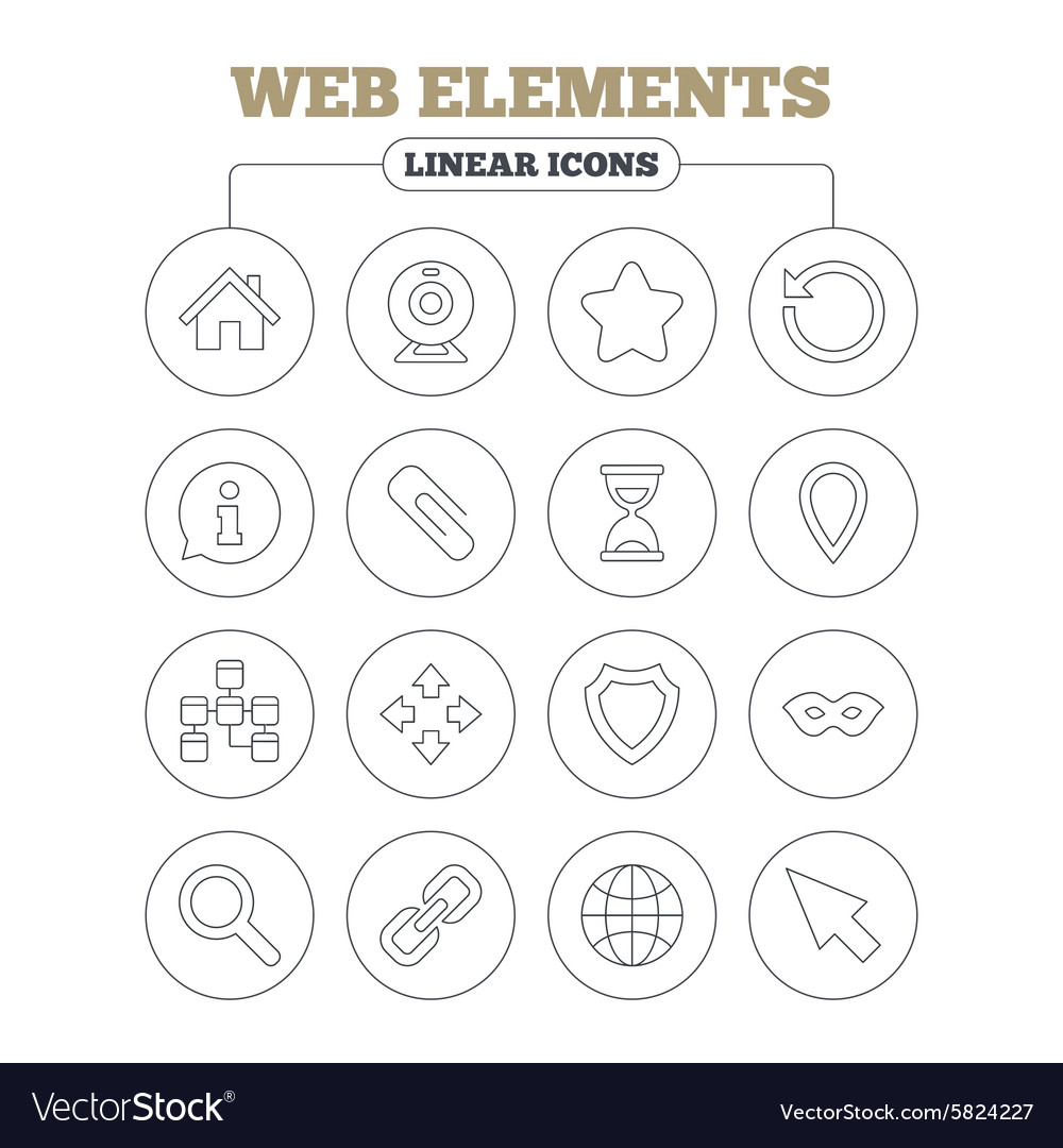 Web elements icons video and speech bubble vector