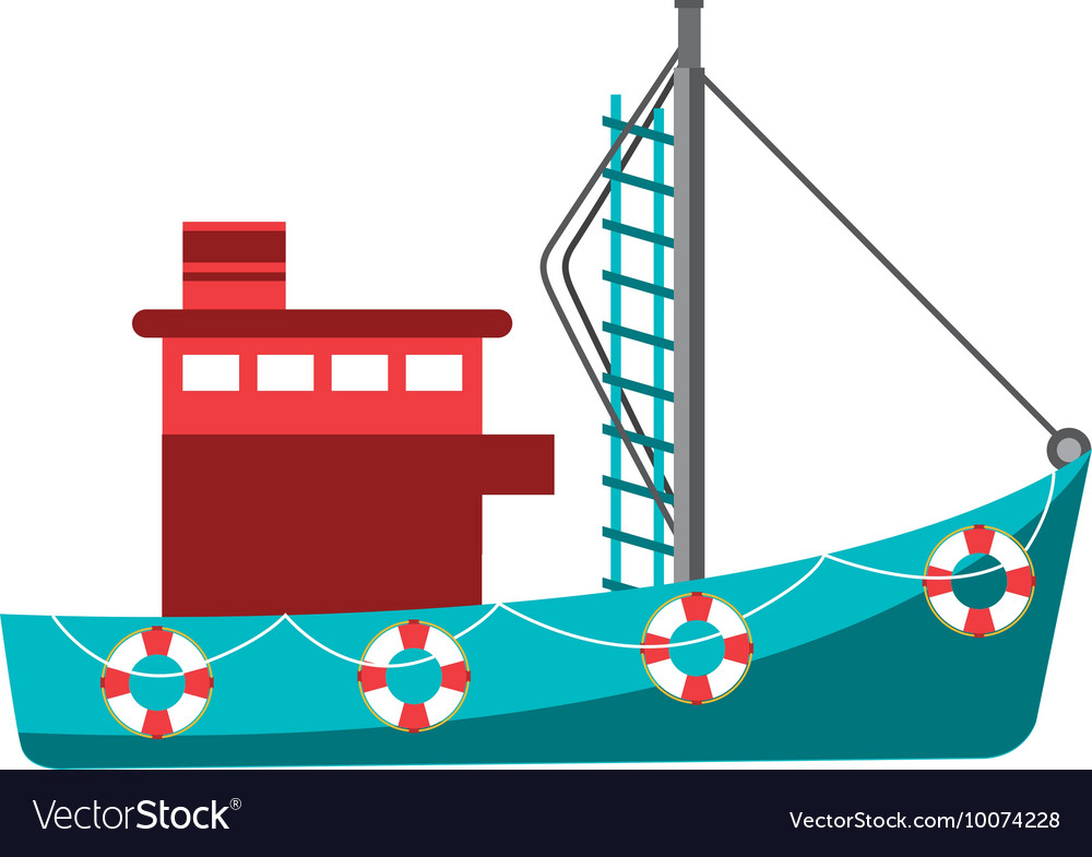 Fishing boat industry icon vector