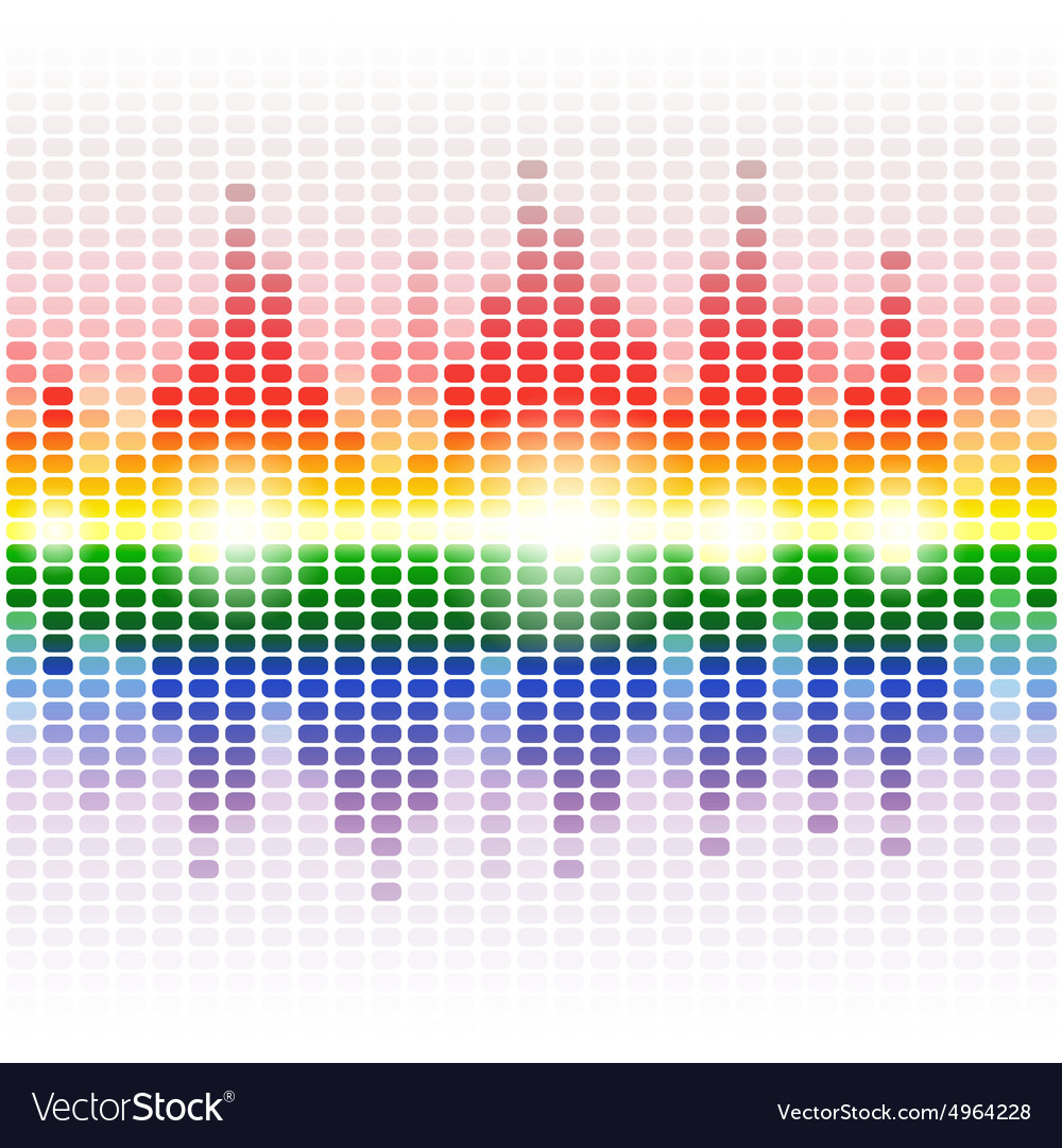 Rainbow shining digital equalizer on white vector