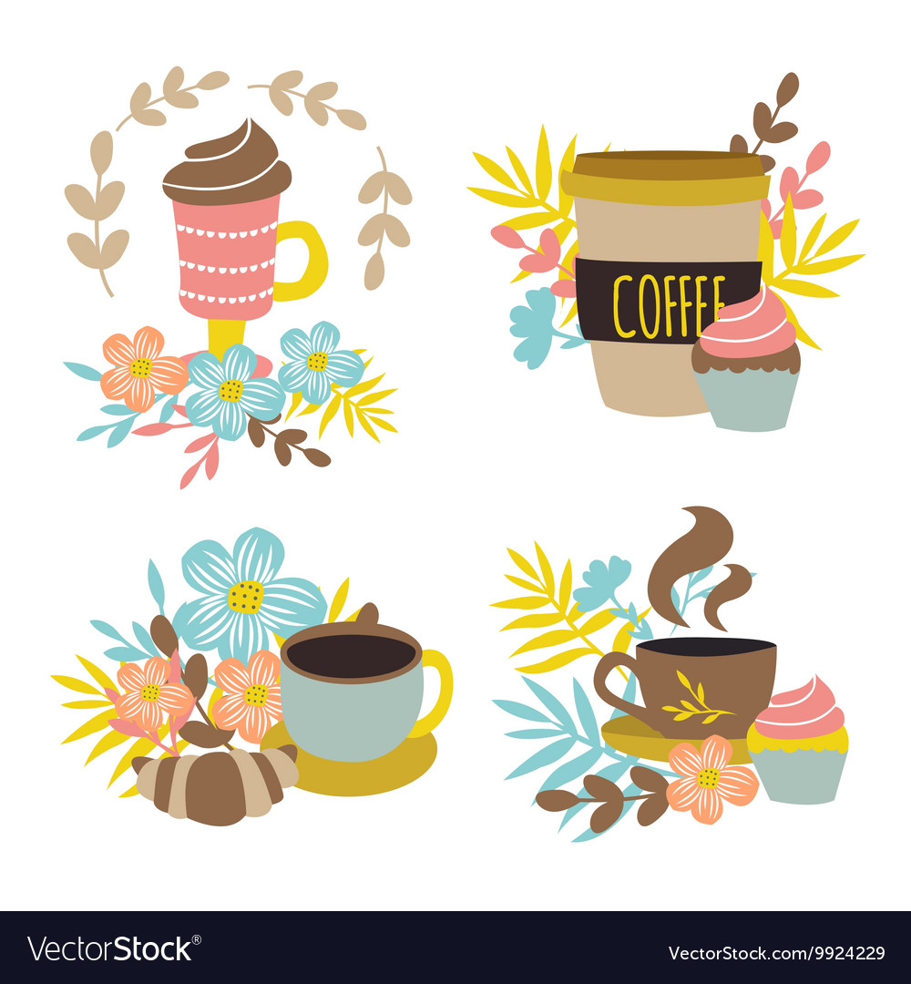 Coffee drinks hand drawn concept vector