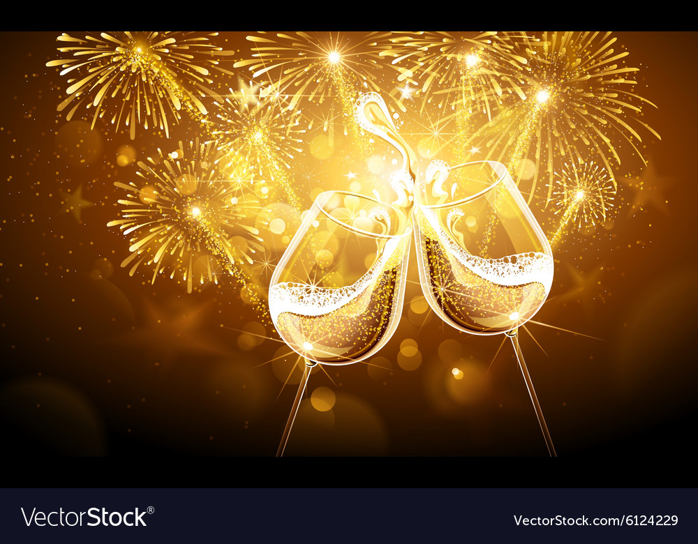 New year fireworks and champagne vector