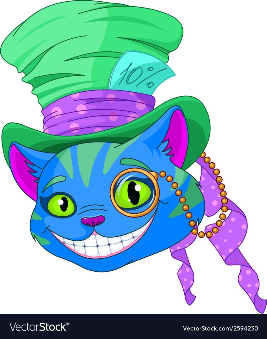 Cheshire cat in top hat vector