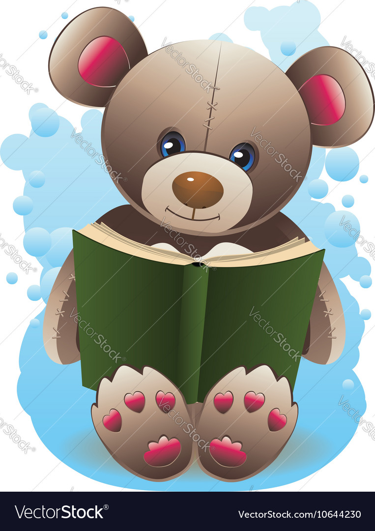 Teddy bear with book2 vector