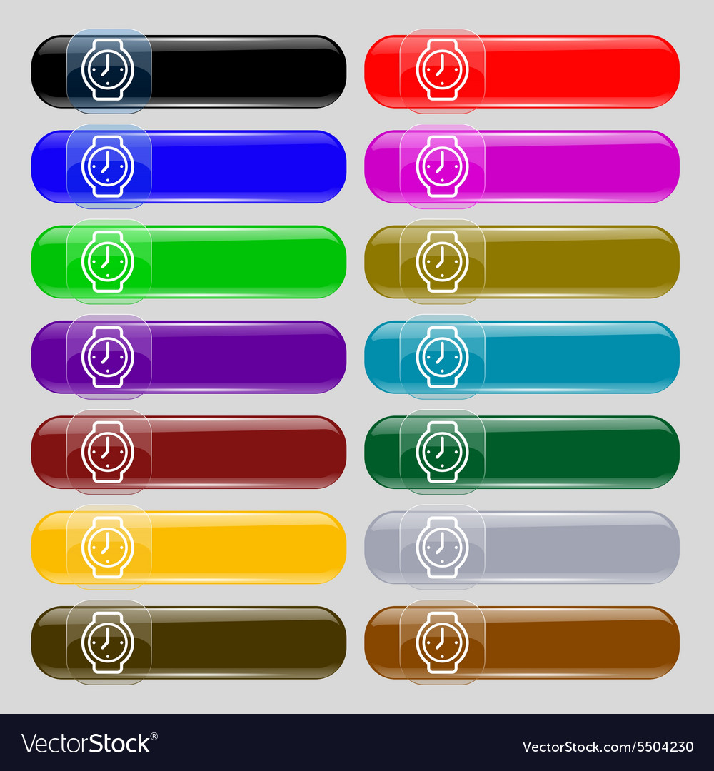 Watches icon sign set from fourteen multicolored vector