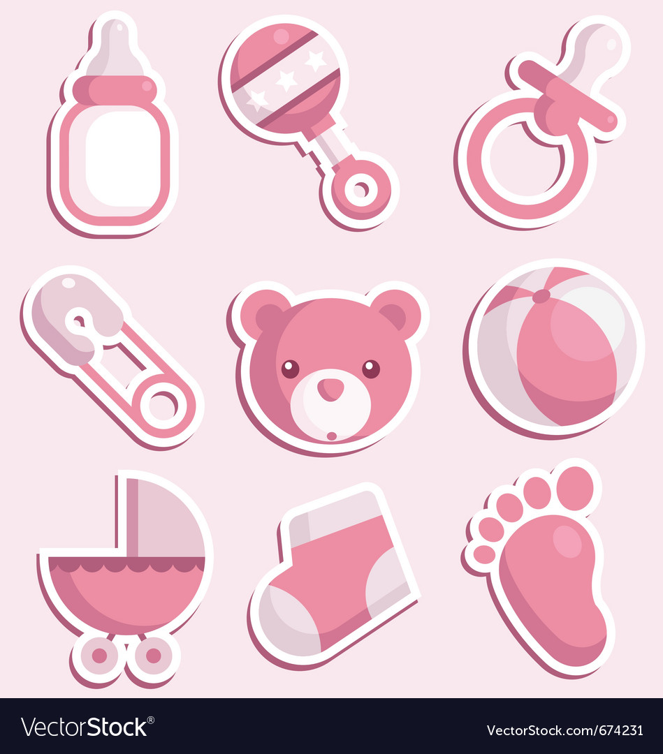 Baby shower pink icons vector