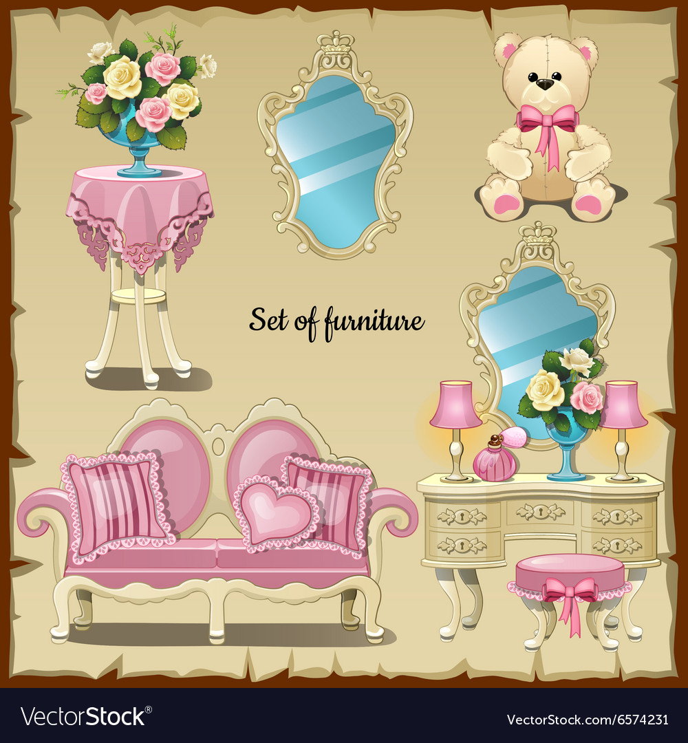 Furniture and accessories for girls vector