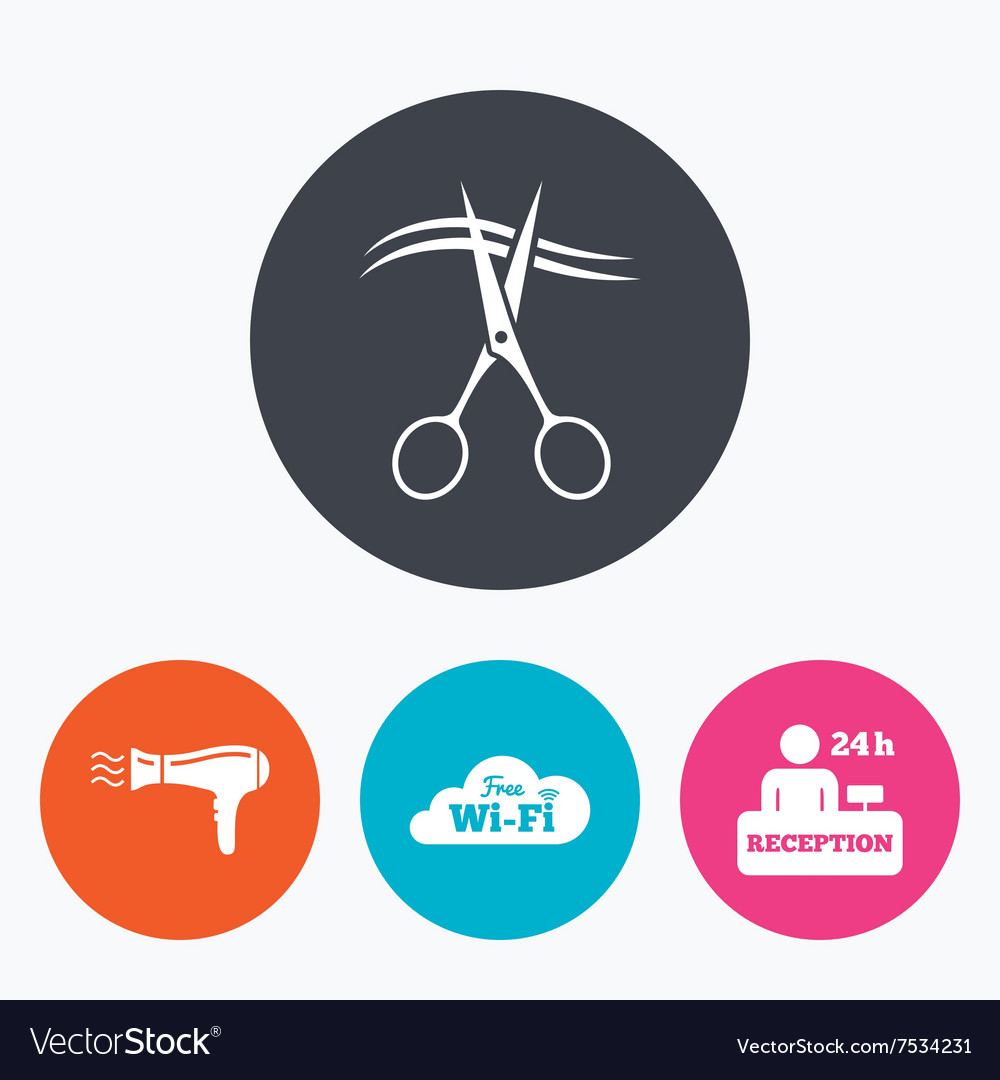 Hotel services icon wifi hairdryer vector