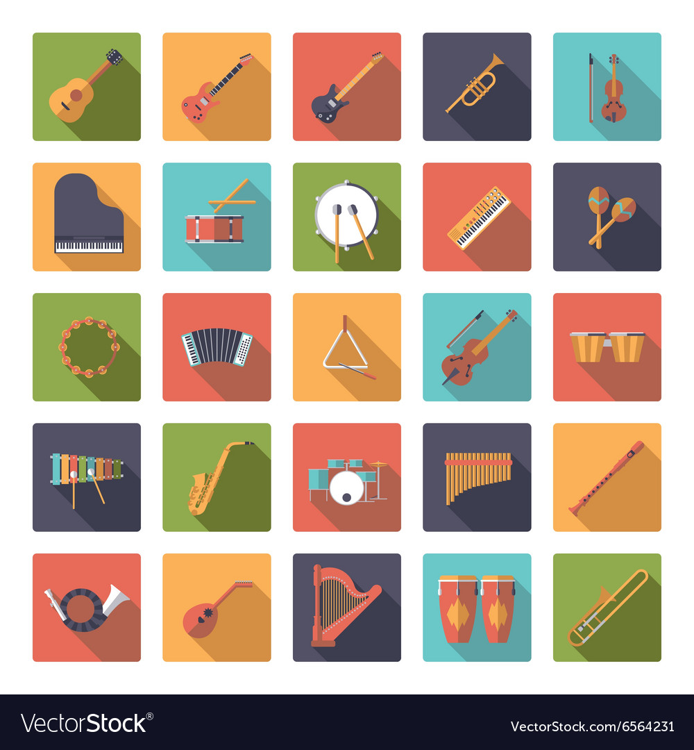Musical instruments flat design icons collection vector