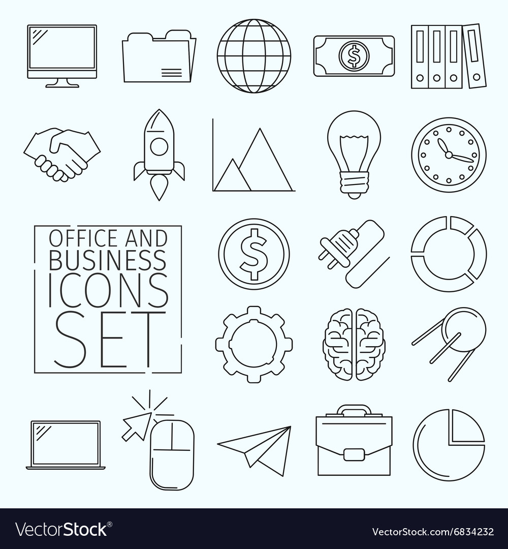D icons office vector