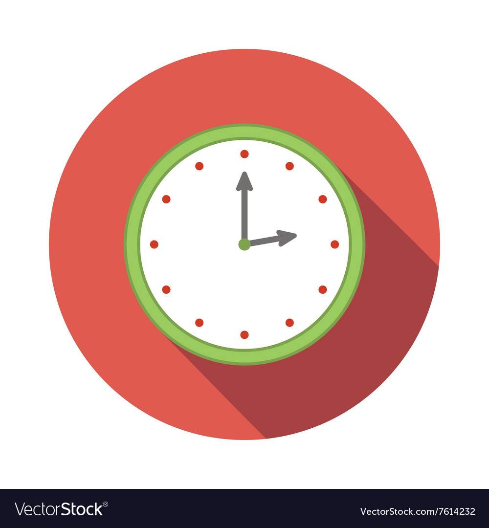 Wall clock icon flat style vector