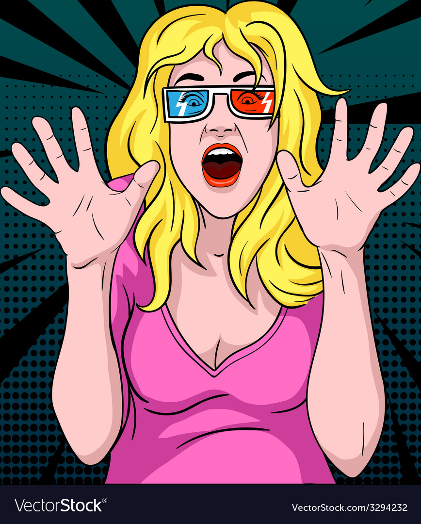 Woman screaming in 3d movie vector
