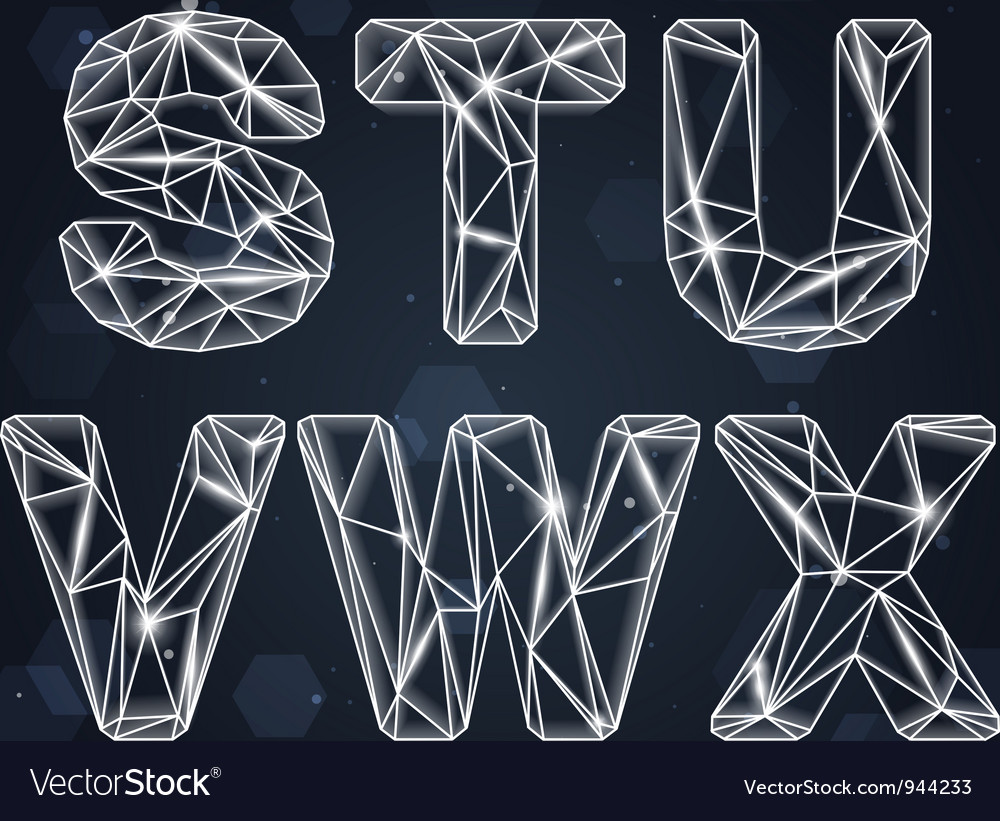 Constellation geometric font sx vector