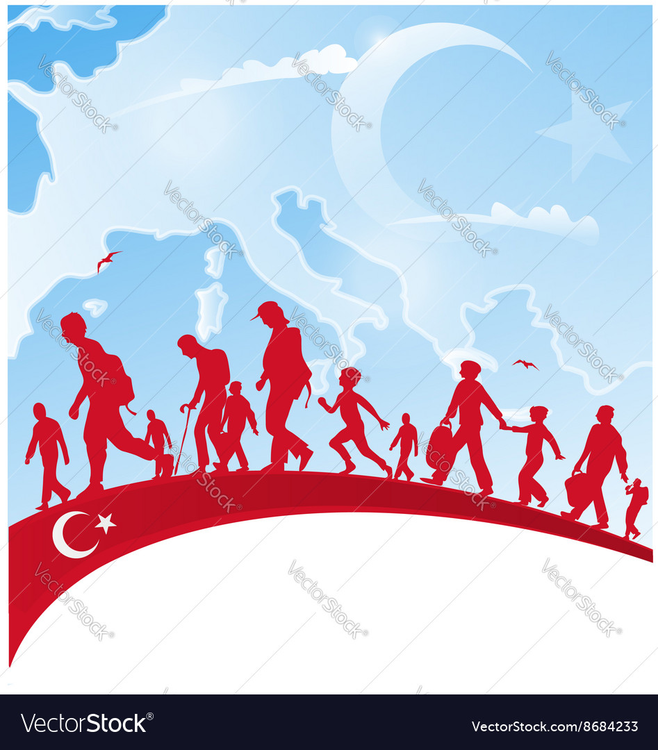 Immigration people on turkey flag vector