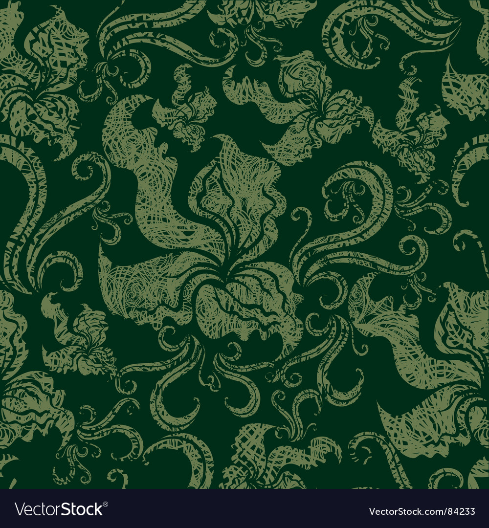 Seamless vintage grunge floral pattern with o vector