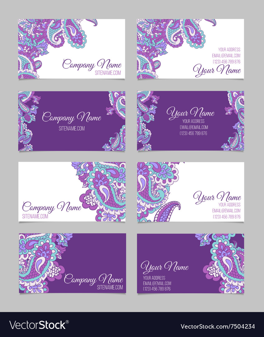 Collection of ornamental business cards vector