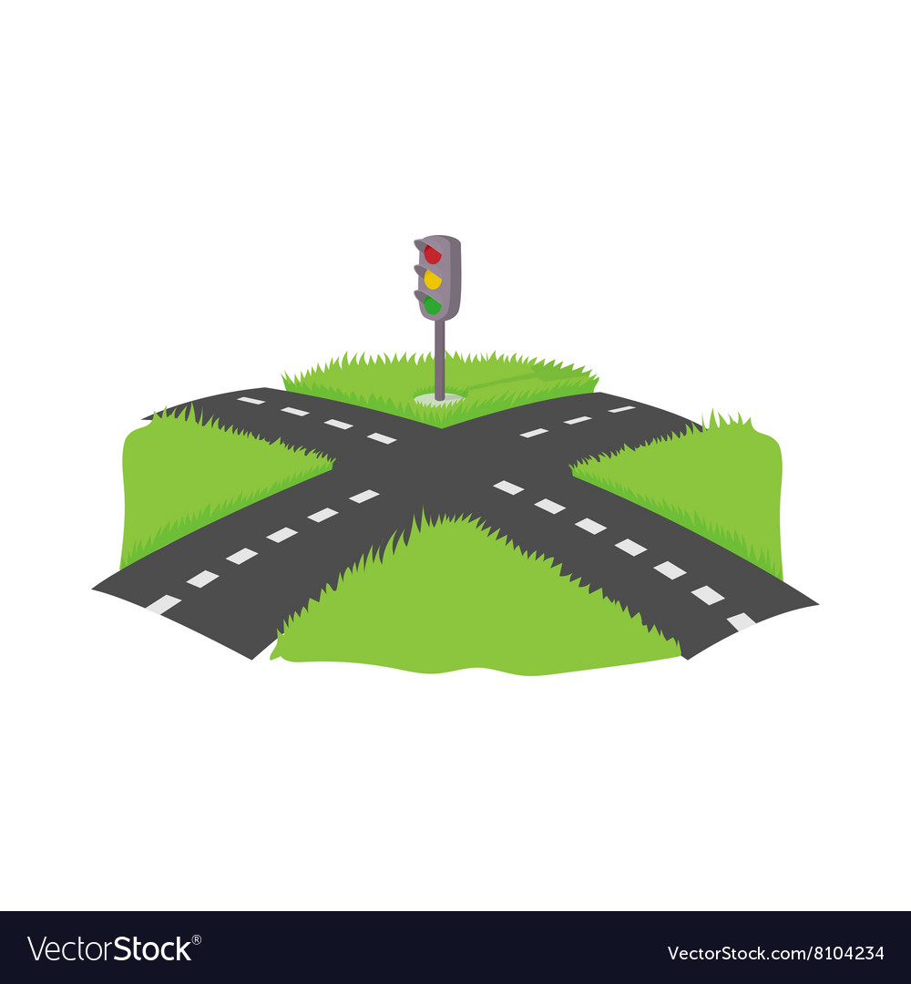 Crossroad icon cartoon style vector