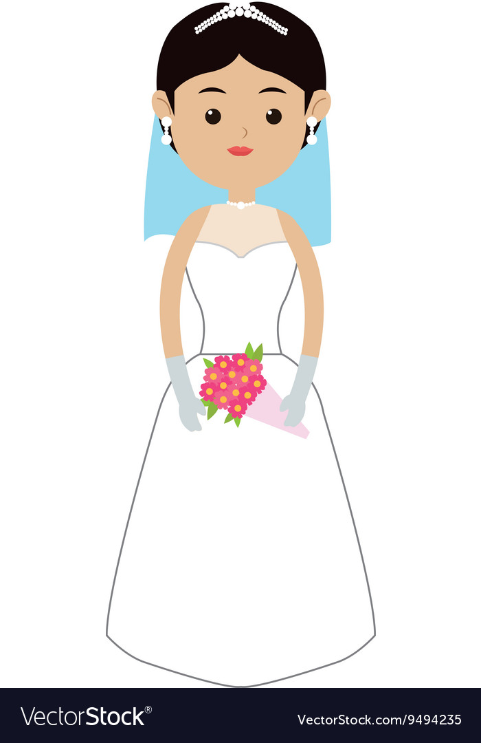 Caucasian bride icon vector
