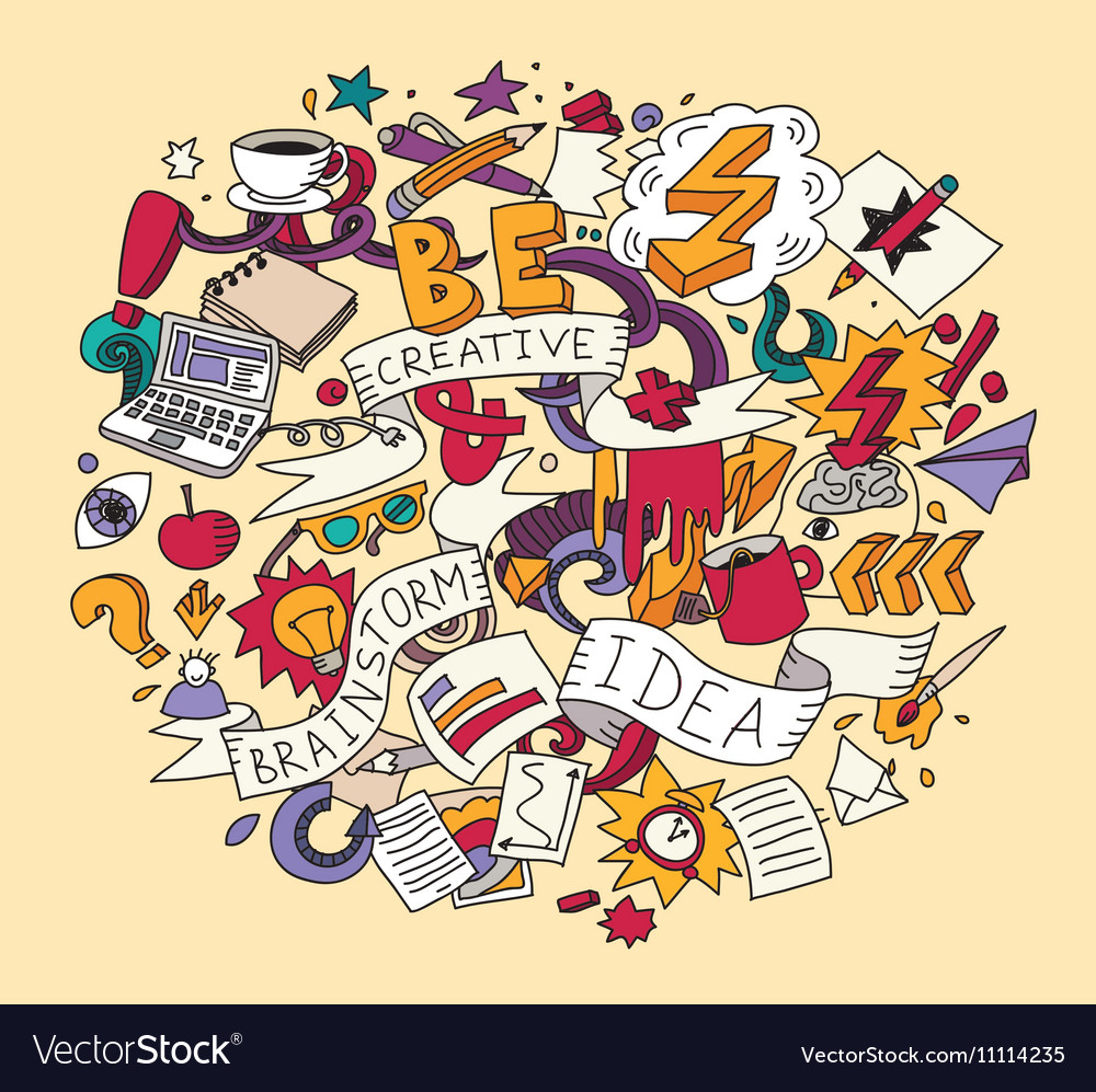 Creative doodles idea brainstorm color vector