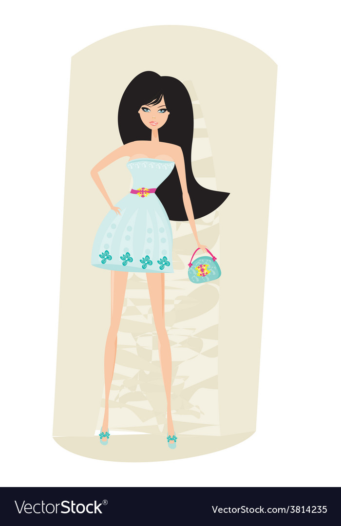 Cute sexy woman with bag vector