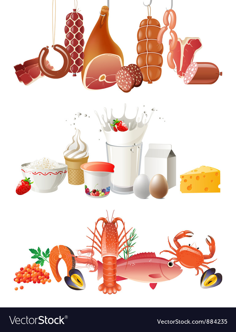 Milk meat and fish borders vector