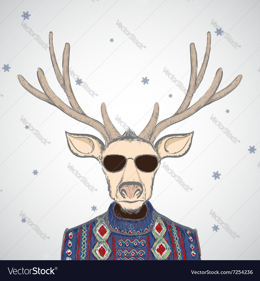 Deer in sweater vector