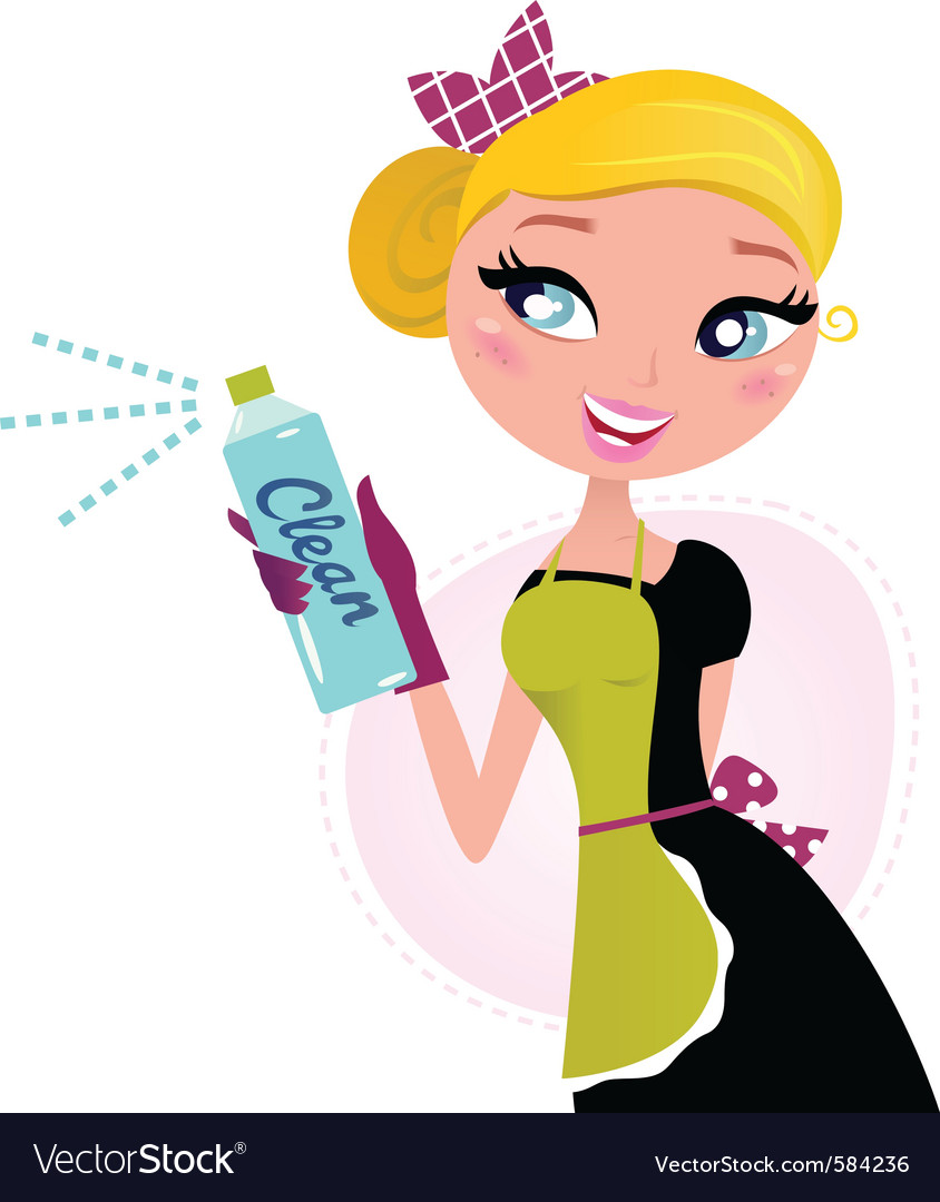 Housewife french retro maid vector
