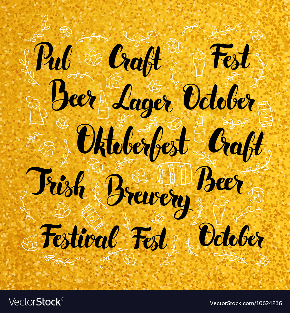 Oktoberfest lettering over gold design vector