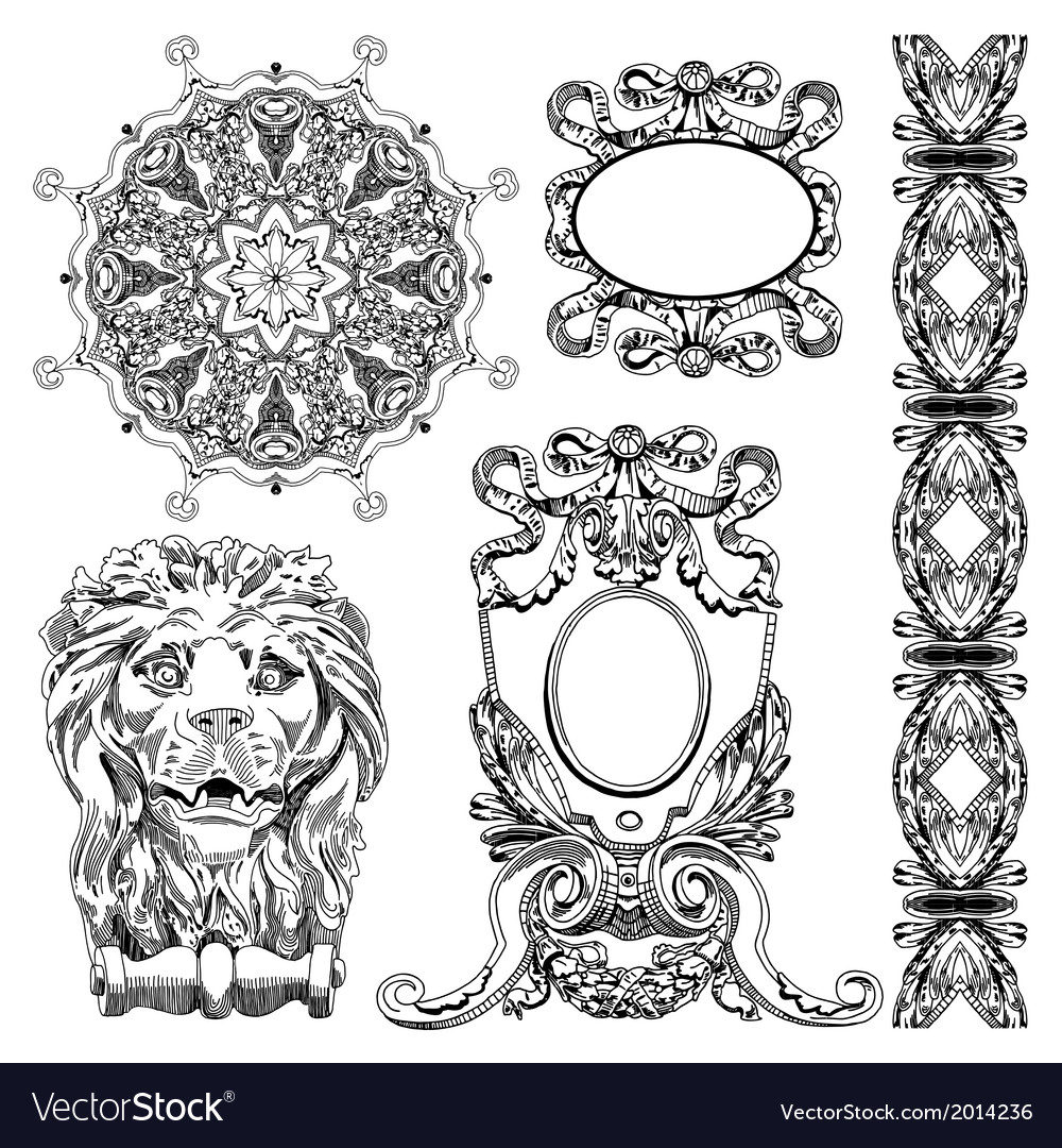 Vintage sketch ornamental design element vector