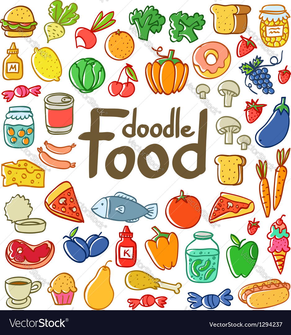 Colored food doodle vector