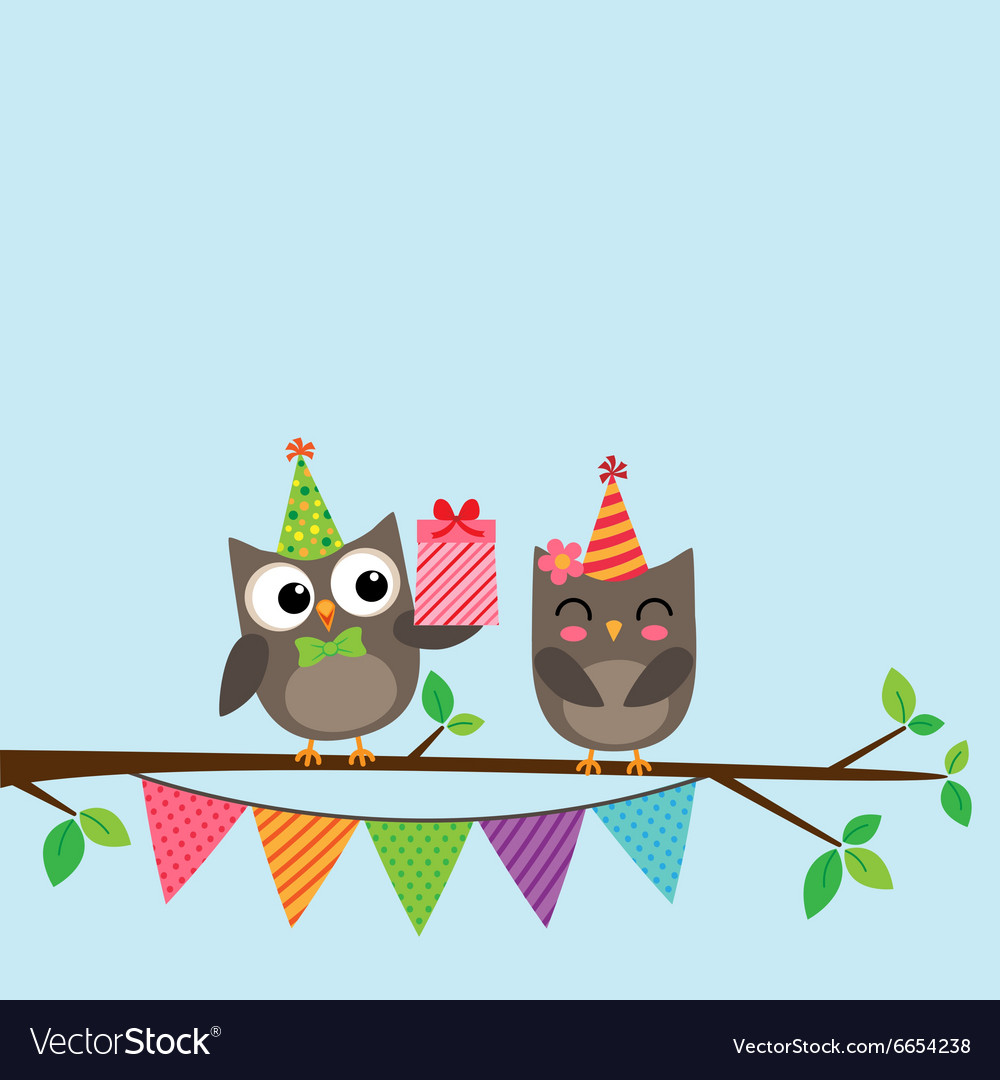 Couple of owls card vector