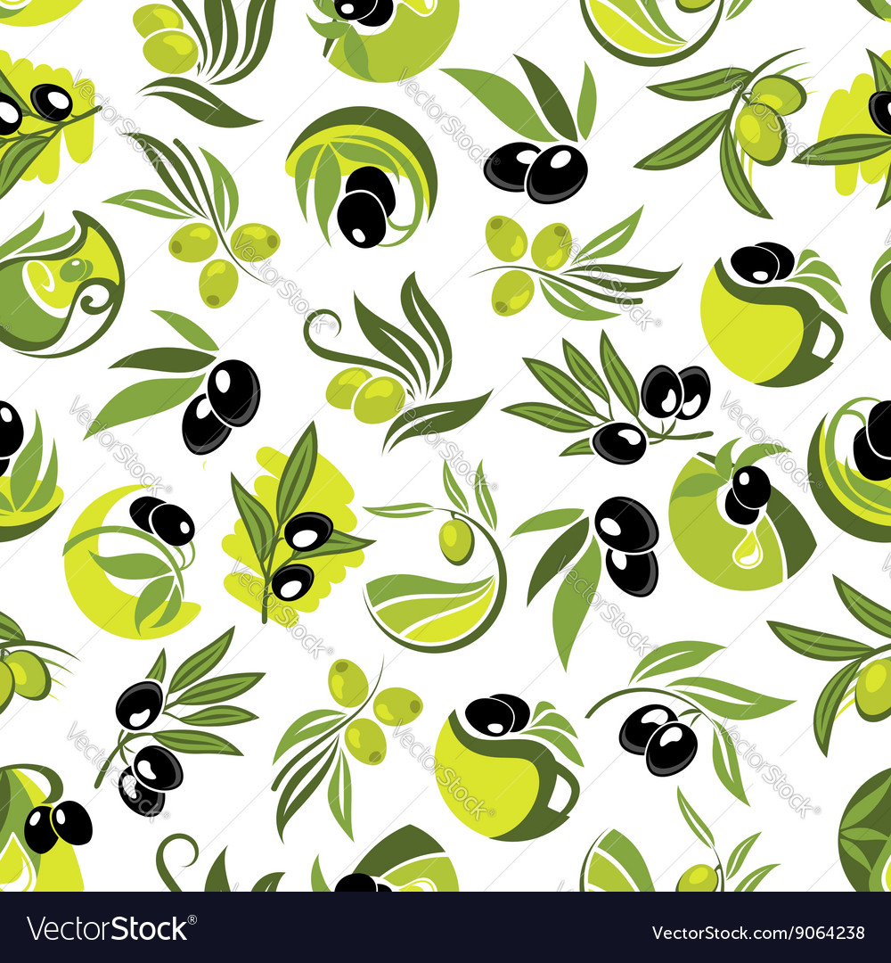 Olive branches and jugs of oil seamless pattern vector