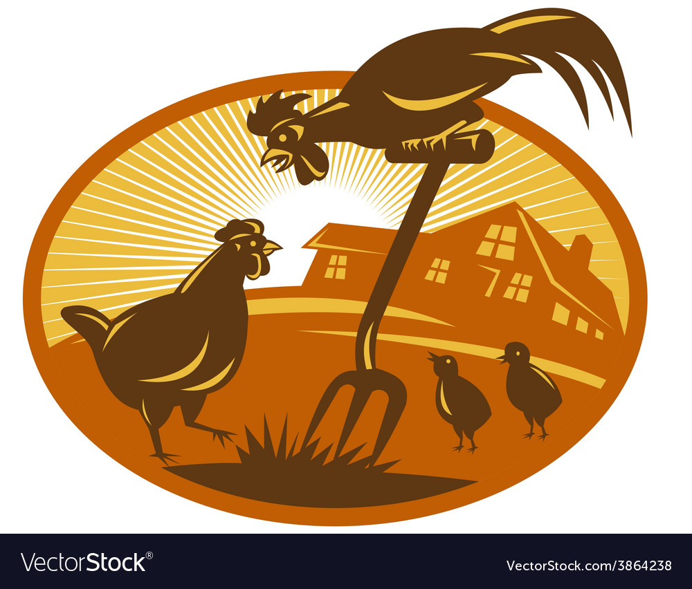 Rooster hen chicken and chicks spade retro vector