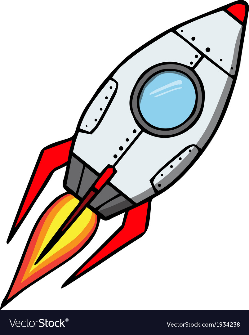 Space rocket cartoon vector