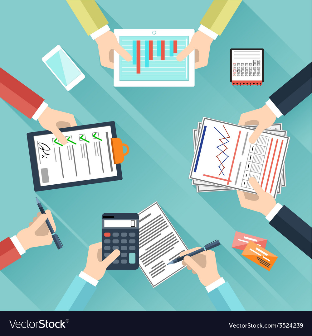 Businessmen hands with different office activities vector