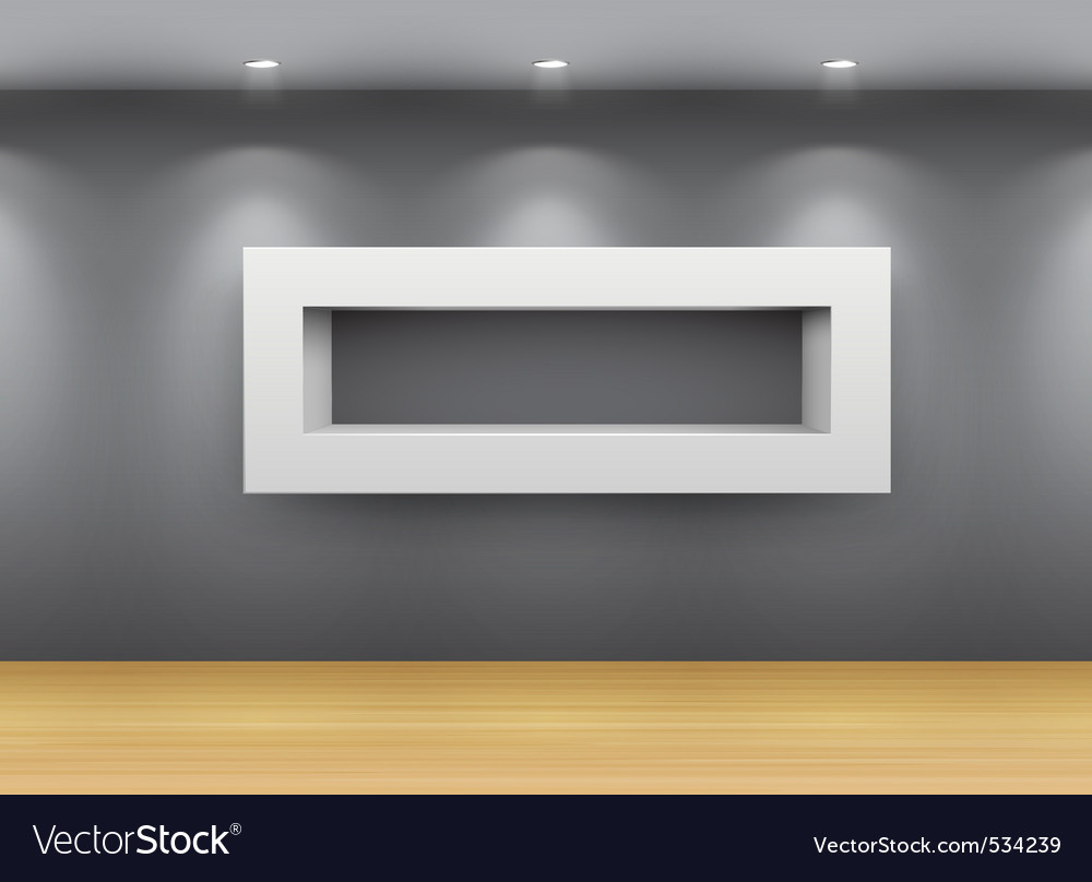 Interior gallery shelf vector