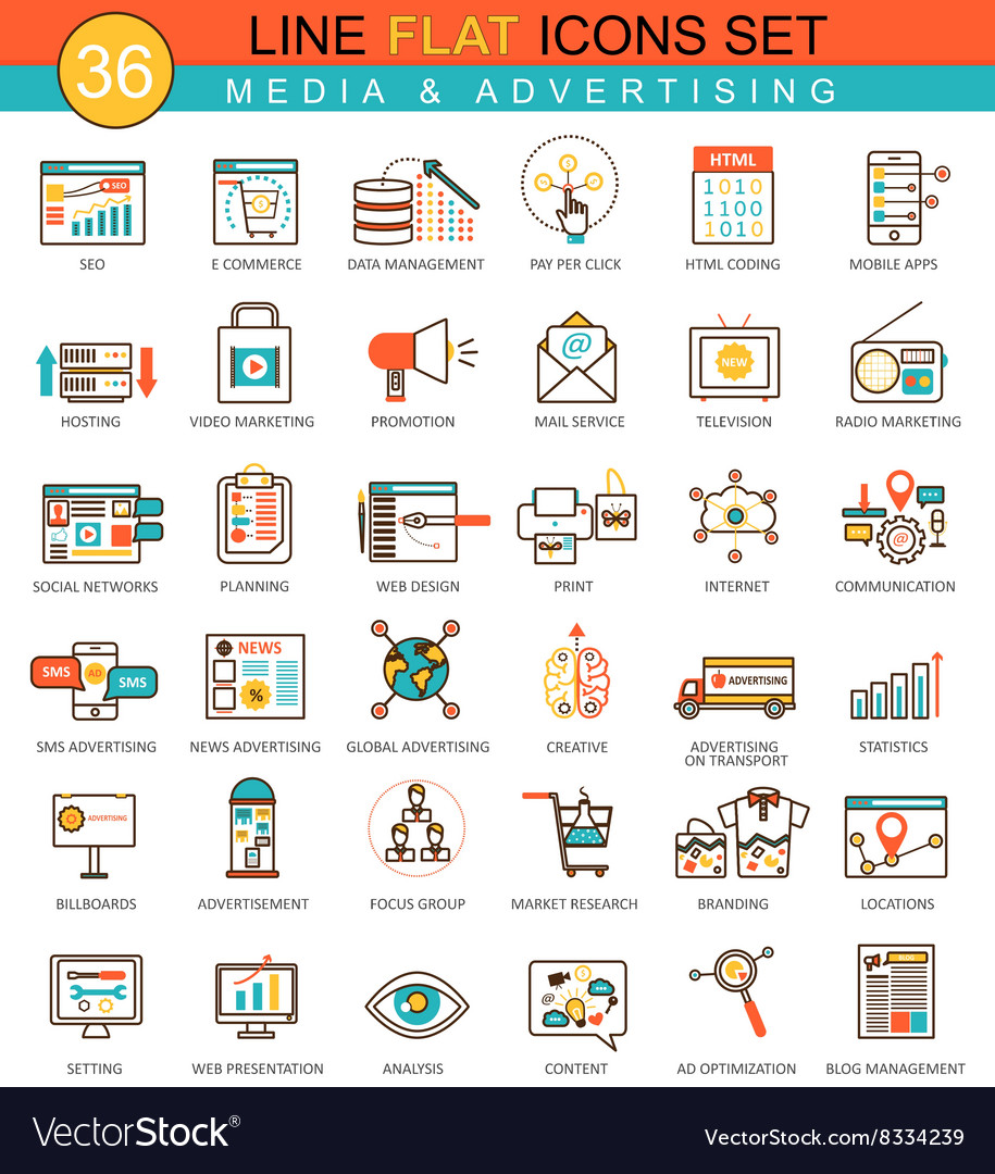 Media advertising flat line icon set vector