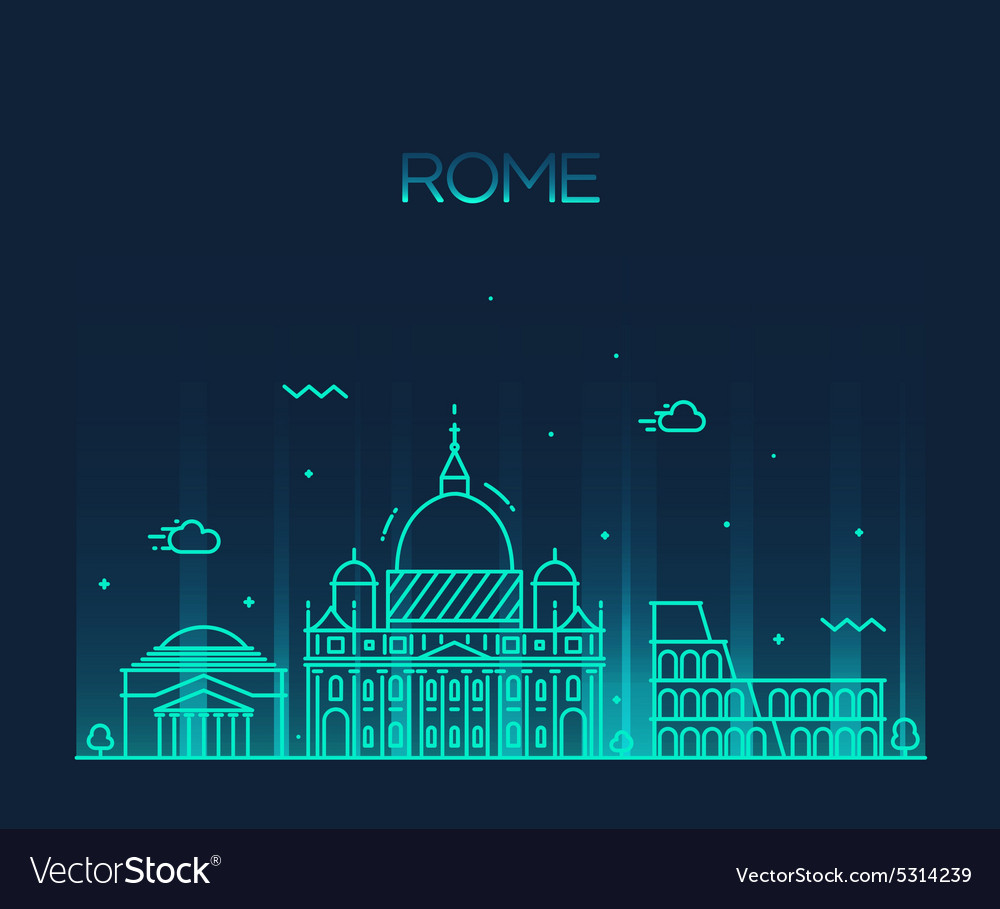 Rome city skyline detailed line art style vector