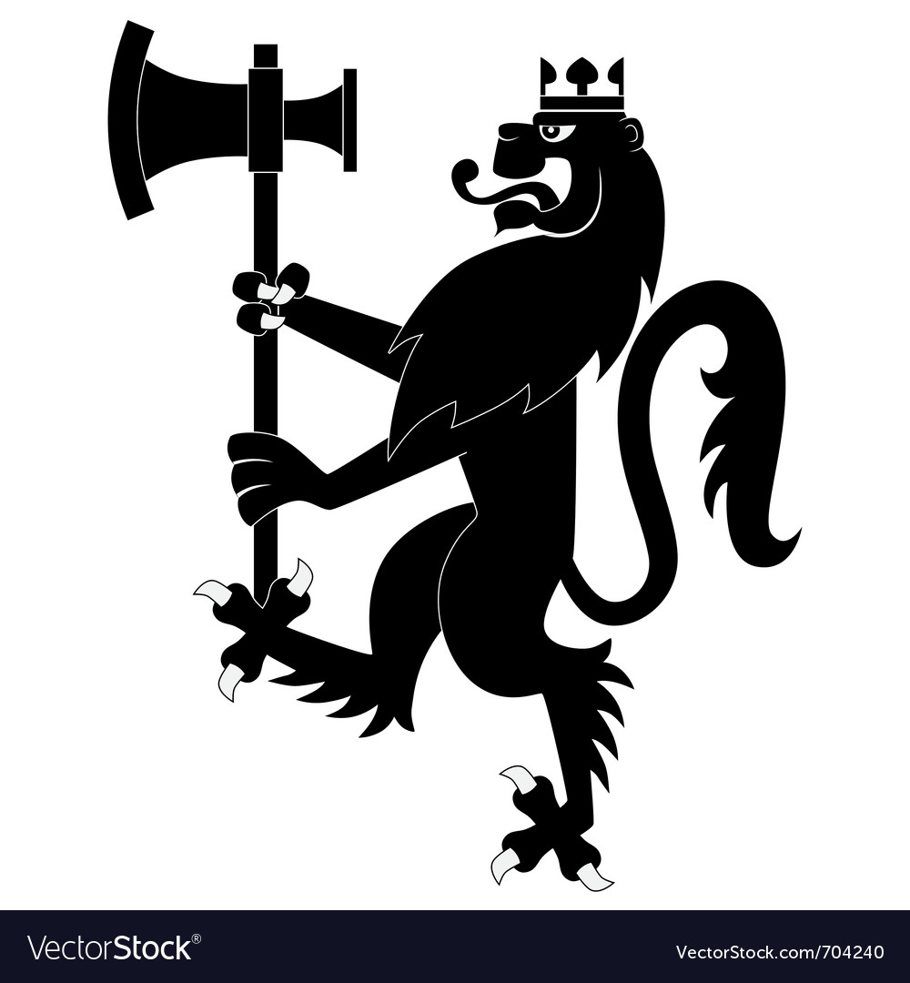 Black heraldic lion with battleax vector