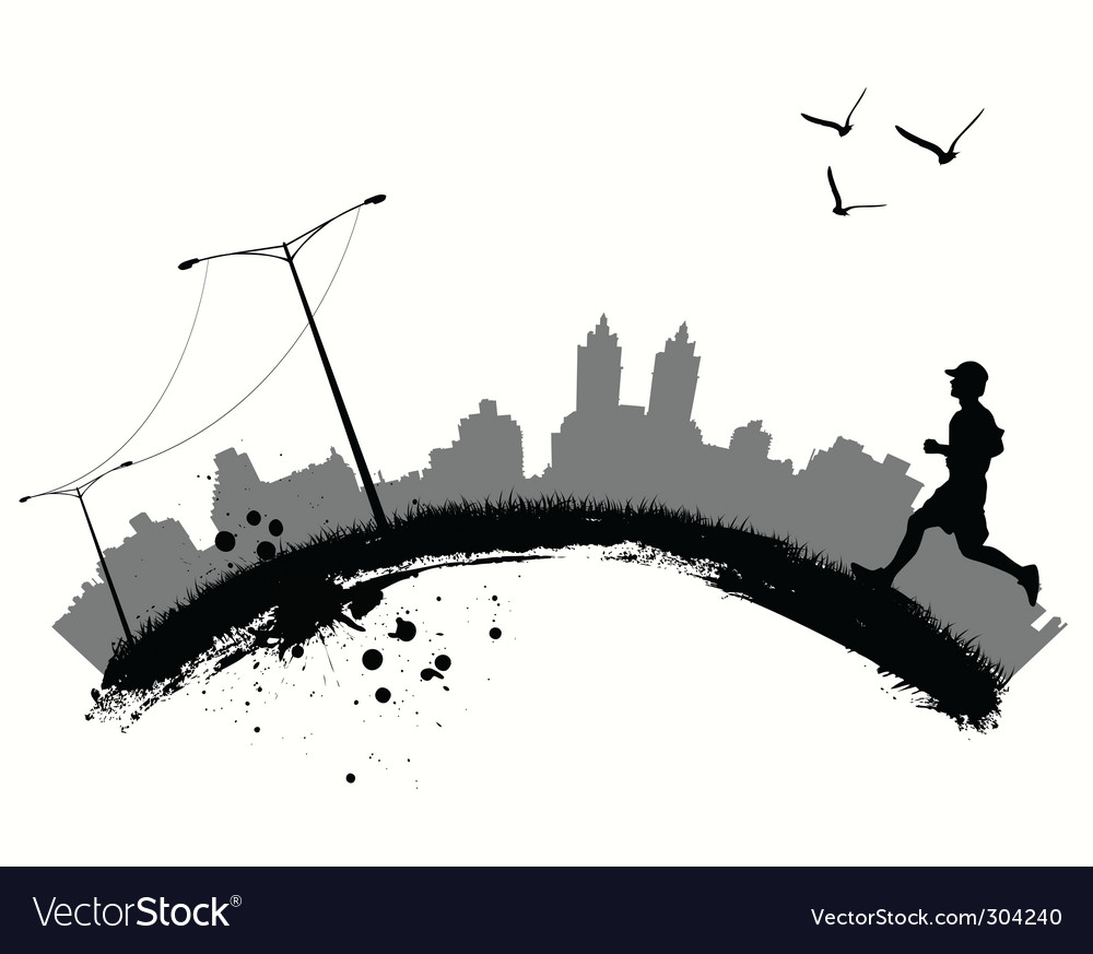 Jogging in city vector