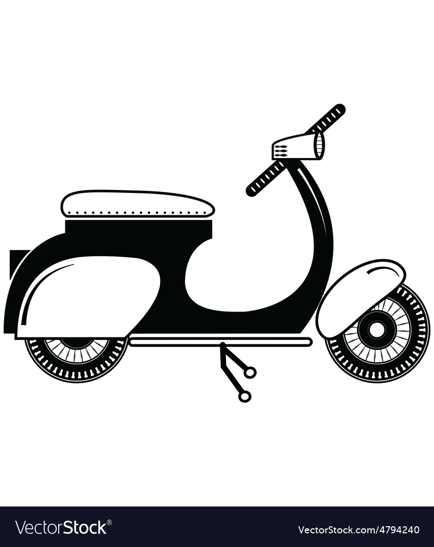 Vintage scooter type 2 in black and white vector