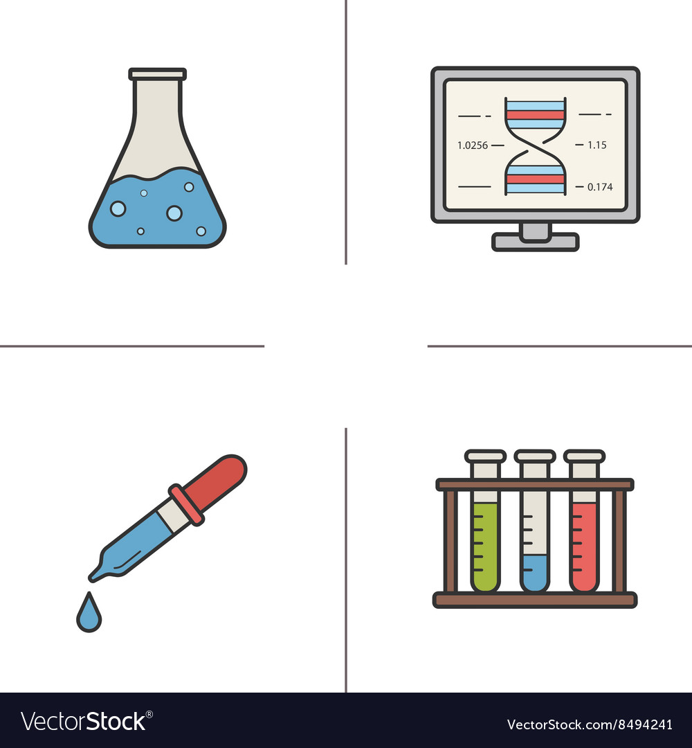 Chemical laboratory equipment flat design linear vector