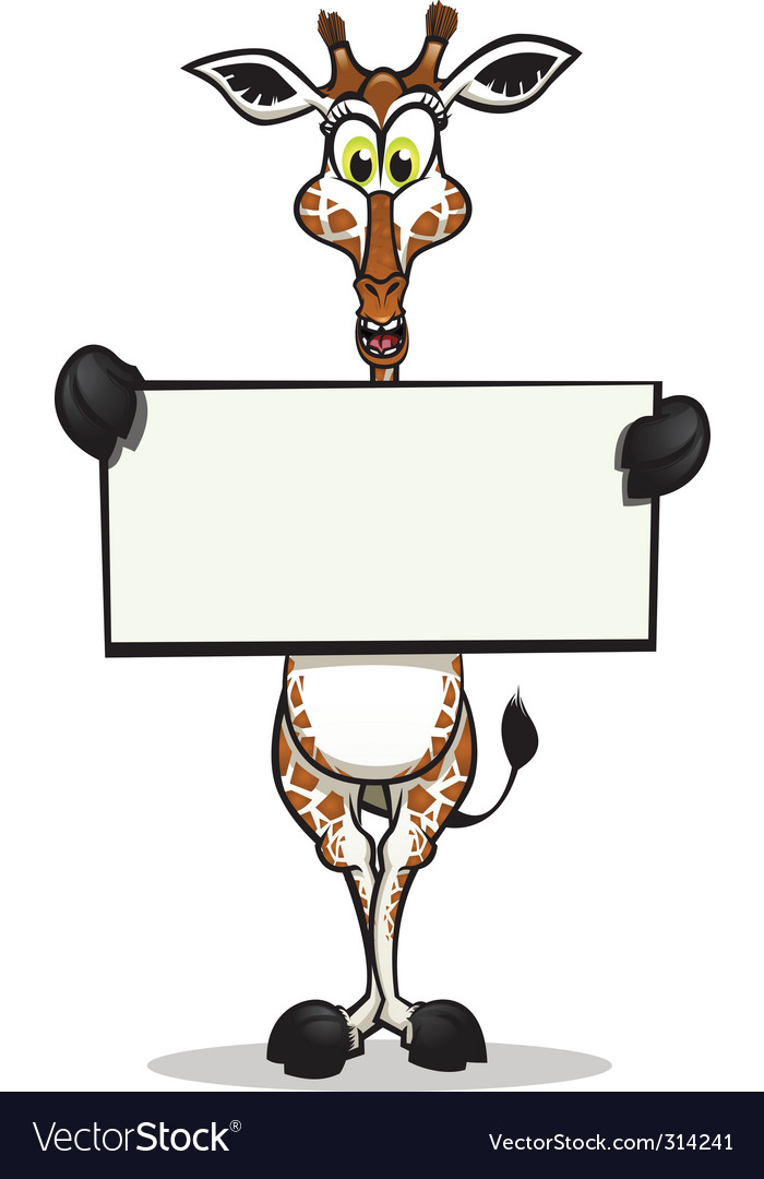 Cute giraffe holding sign vector