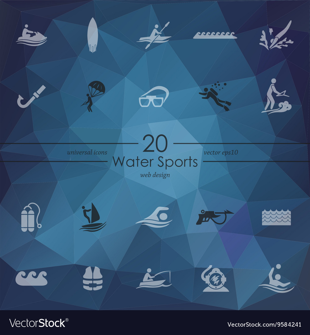 Set of water sports icons vector
