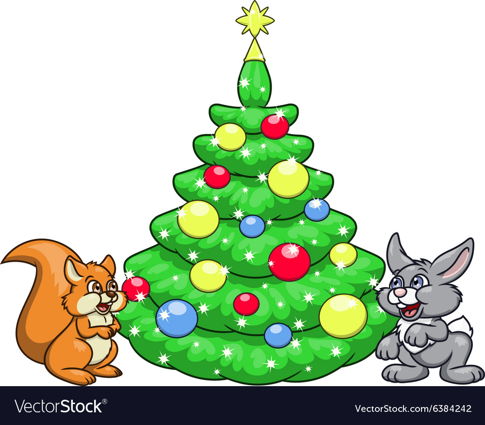 Christmas tree for squirrel and rabbit 2 vector