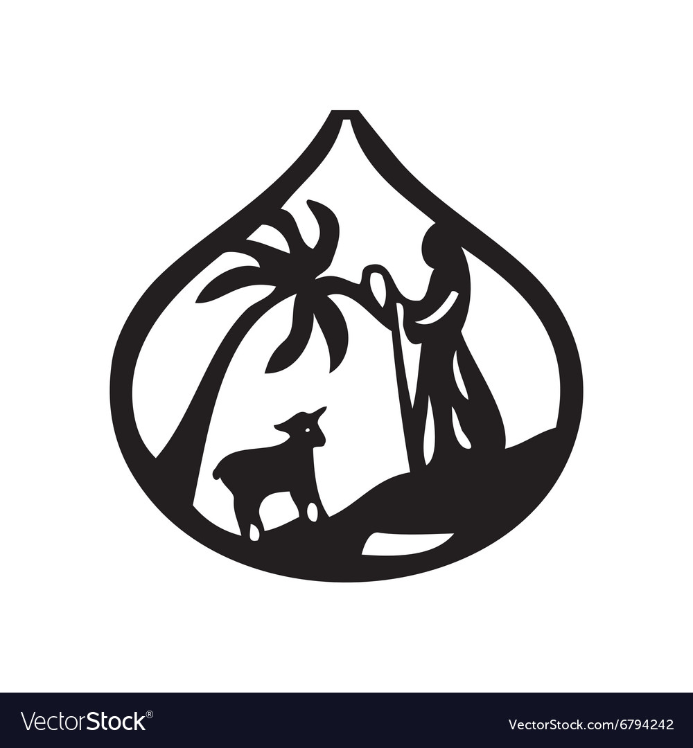 Jesus leader sheep silhouette icon on white vector