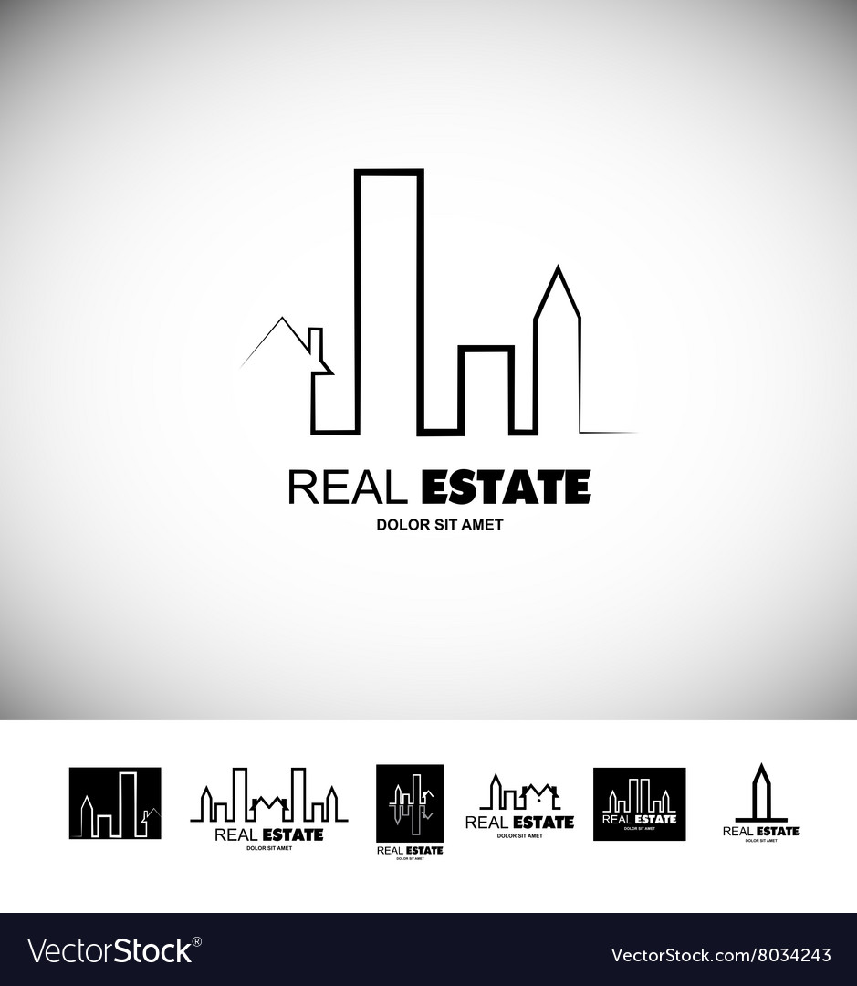 Black and white real estate logo vector